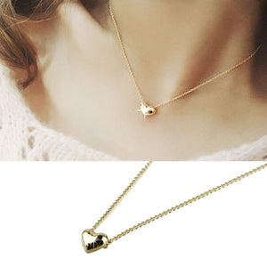 Simple Smooth Small Women Heart Crystal Rose Gold Plated Pendant Necklace