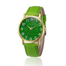 New Design Women Watches With Green Football field PU Leather Band Analog Alloy Quartz Wrist Watch