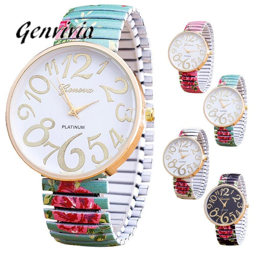 Glass Golden Roman Numerals Luxury Women Watch