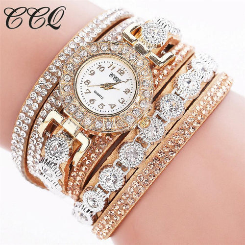 CCQ Luxury Brand  Women Fashion Analog Quartz Women Wave Rhinestone Watch Bracelet