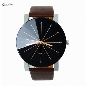 Men's Leather Wrist Watch Stainless Steel