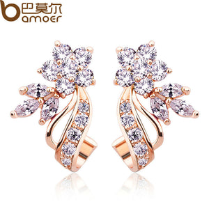Trending Gold Color Stud Earrings with Flower Shape White AAA Zircon