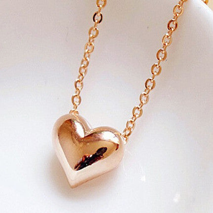 SUSENSTONE Gold Heart Necklace Fashion Women trendy Statement Chain Pendant Necklace Jewelry