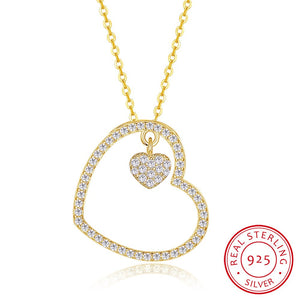 Silver Necklace Fashion Heart Pendant Love Diamond Gold Necklace