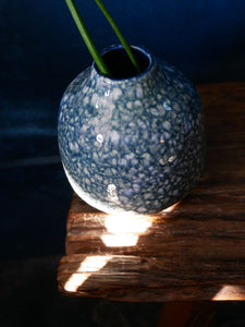 Blue Green Speckled Vase