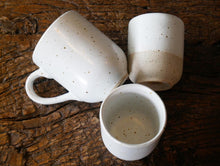 White speckled mug with handle / handmade