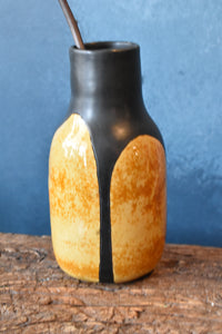 Yellow-Ochre and Black Glazed Vase | Mixed Texture