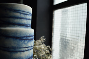 Blue and White Striped Vase | Textured Surface