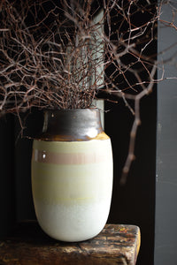 Full Bodied Vase L | White Pink Yellow | Rustic Rim