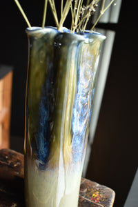 Blue Green Vase with Floral Rim |  Glazed