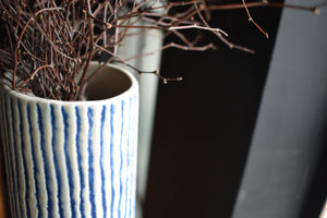 Blue and White Striped Vase  XL | Textures Surface