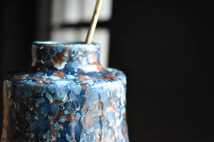 Blue Vase with Red and White Speckles M | Glazed