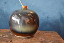 Dark Round Vase M | Earthy and Green Shades | Glazed