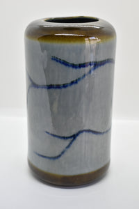 Large Glazed Vase | Grey Base with Earthy and Blue Details