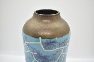 Medium Glazed Vase with White Lines on Blue Pattern | Textured Surface around Rim