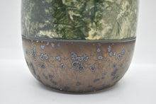 Medium Glazed Vase with Green Pattern (Engobe) | Rustic Foot