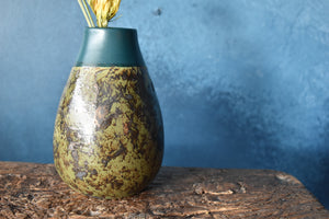 Green Patterned Vase with Deep Blue Rim | S | Glazed