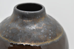 Medium Brown Glazed Vase with textured surface around Lip