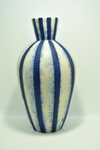 Large Blue and White Striped Vase | Textured Surface