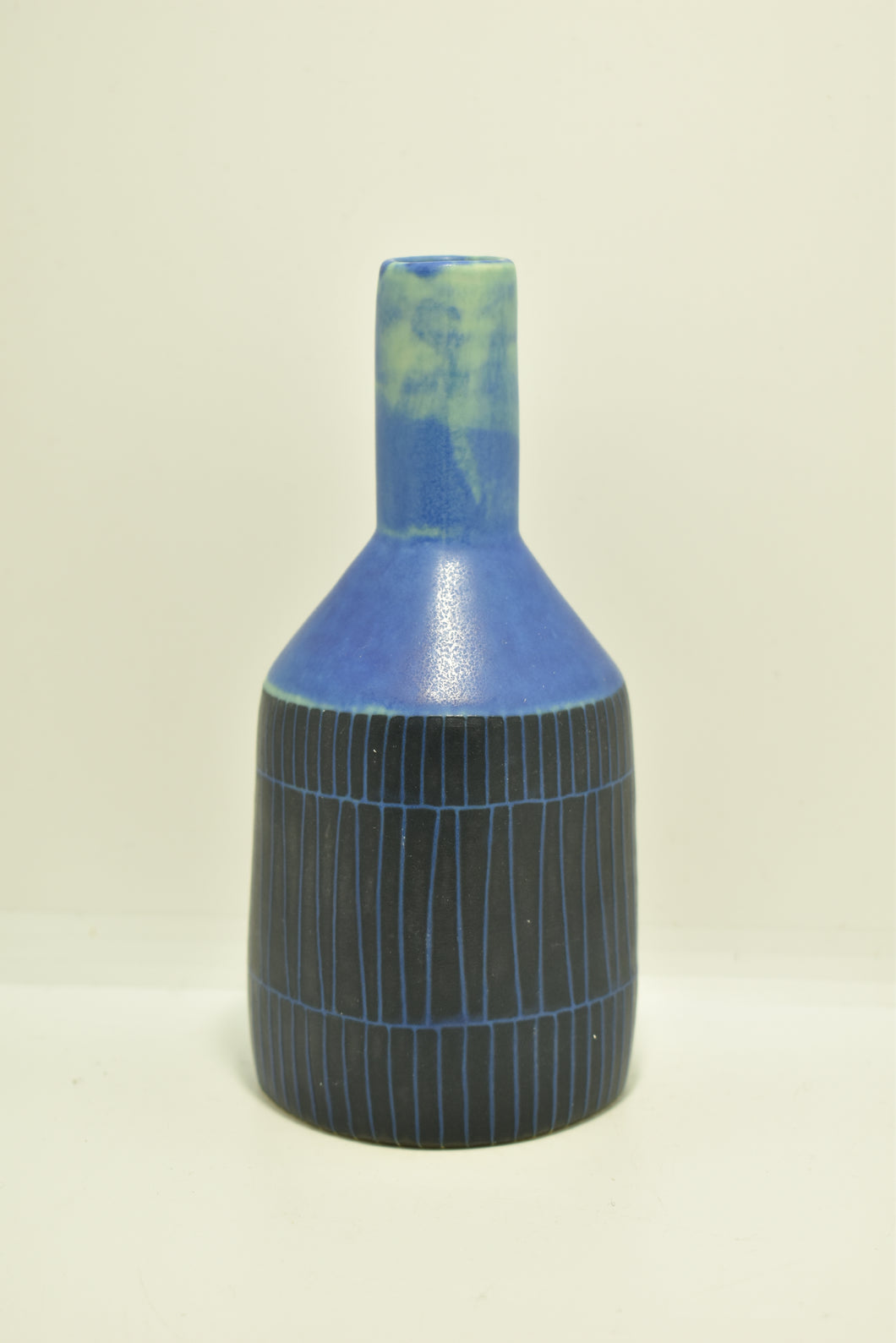 Small Blue Green Vase with Black Pattern