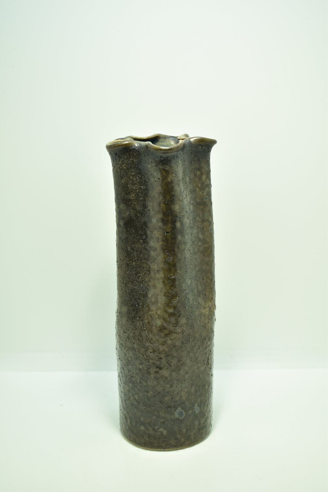 Medium Brown Vase with Flower-Shaped Rim | Mixed Techniques | Textured Surface