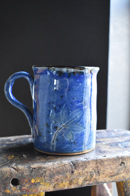 Dark Blue indigo Celadon Mug, Printed Leaves, One of a kind, Handcrafted