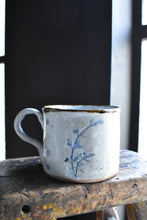 Grey-White Mug with Flowers, Brown Rim, Handmade