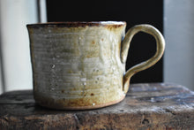 Large Mug: White/Brown shades, Dark Rim, Flower Printed, Handmade