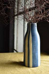 Matte Blue and White Vase | Narrow Neck