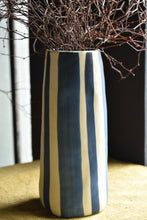 Matte Blue and White Striped Vase