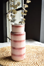 Pink and White Striped Vase | Matte