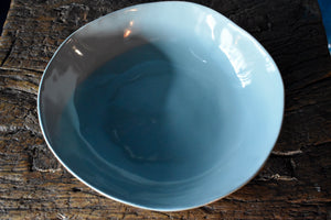 Green Bowl | Uneven Shape | Glazed Inside | Matte Outside