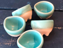 Tiny Ramekin, Turquoise, Rough at Bottom, Elephant Feet, Handmade