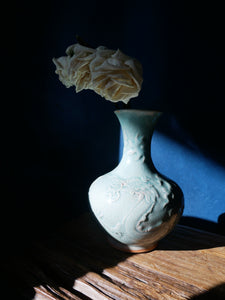 Handcrafted DRAGON Green Celadon Vase - ash wood fired pottery