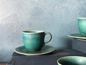 Coffee/Teacup with Saucer: Turquoise, Handmade