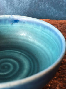 Medium Size Blue Bowl with Sparkles, Handmade