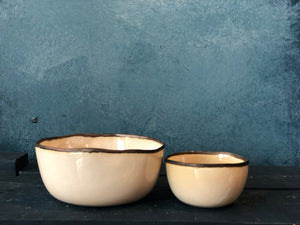 Uneven Small Bowl: Milky White, Rustic Rim Bowl, Handmade pottery