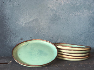 Large Plate: Turquoise Rim, Uneven Plate