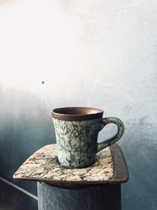 Espresso Cup with Saucer, Unique Style, Rustic Rim Inside, Handmade