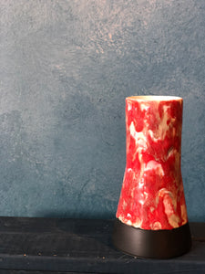SOLD | Red/Milky Vase, Charcoal Base, Handmade
