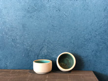 Tiny Ramekin/Bowl: Blue inside, Raw outside, Handmade