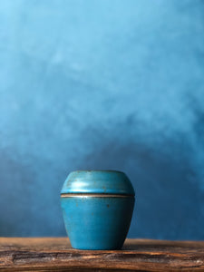 Deep Blue Cup with Lid, Handcrafted