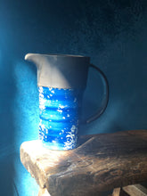 SOLD !! Blue Snowflake Water Pitcher, Arched Handle, Rustic, Pottery
