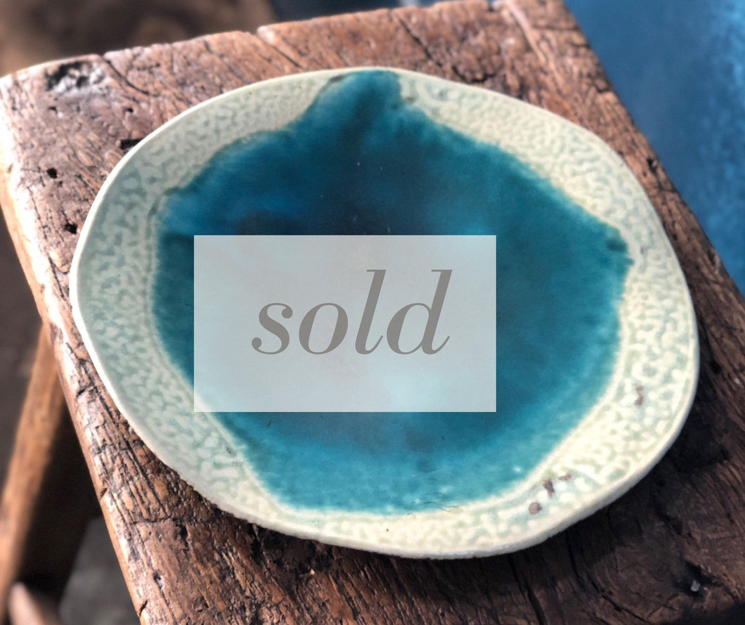 SOLD | Handmade Decorative Plate, Deep Sea and Crack Glazed with Leg, Handmade, Ceramic, Plate, Unique, Freeform, Uneven
