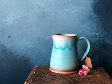 Medium Jug: Chubby Pitcher, Turquoise Shade, Purple-Earth Shade Rim, Handmade
