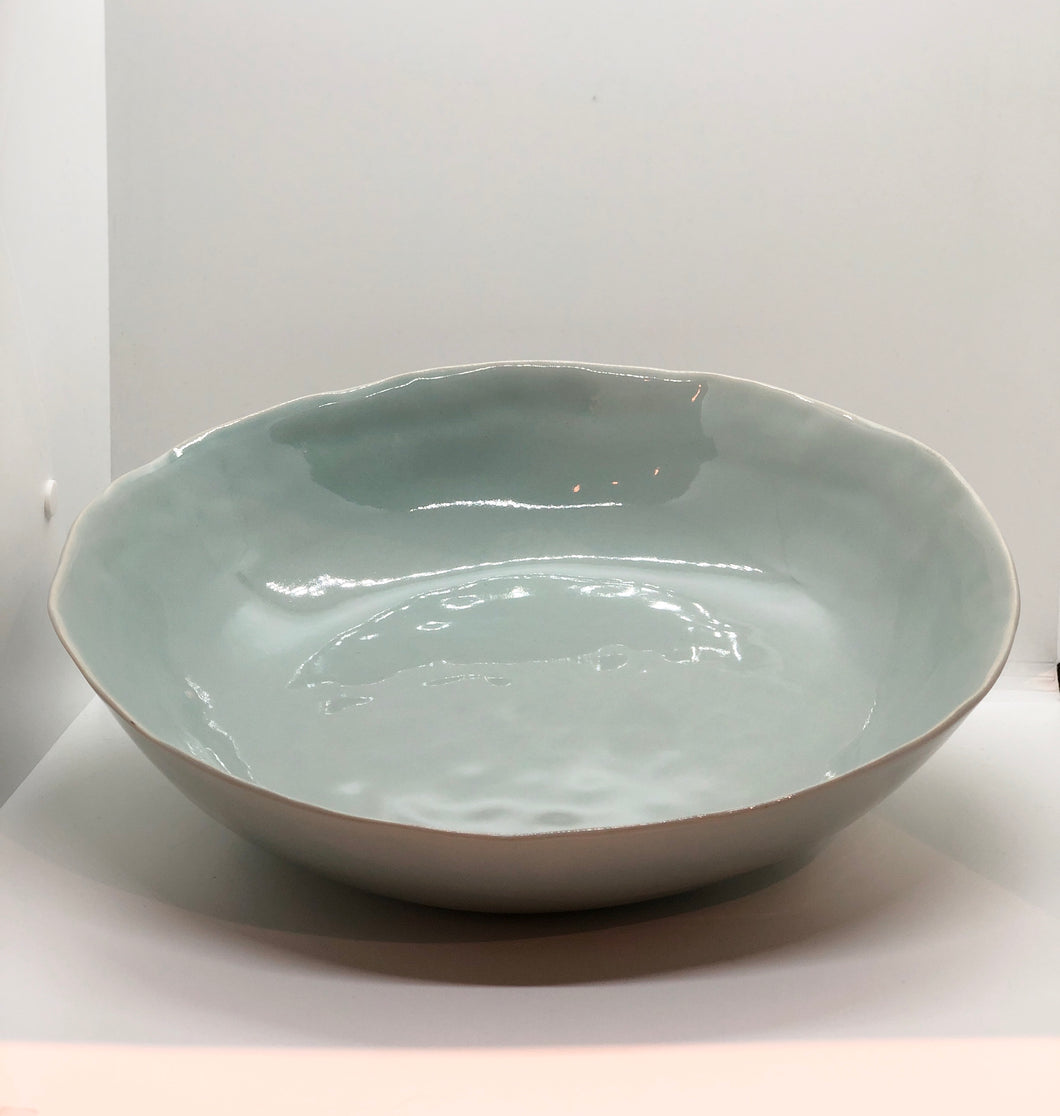 Light Green-Large Uneven Bowl, Handmade pottery