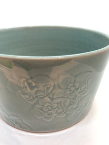 Large Celadon Bowl, Craving and Printing Orchid Celadon