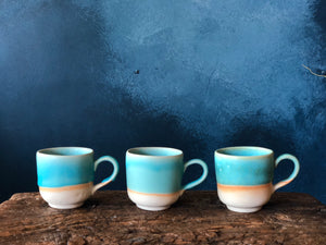 Tiny Espresso Cup, Handle, Turquoise, Handmade