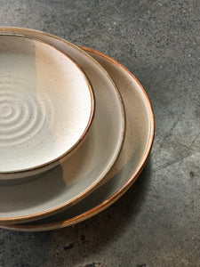 Medium Plate, Matt Textured, Swirl, Brown Rim, Handmade