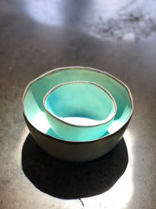 SOLD | Large Bowl: Turquoise, Rustic Rim, Uneven Bowl